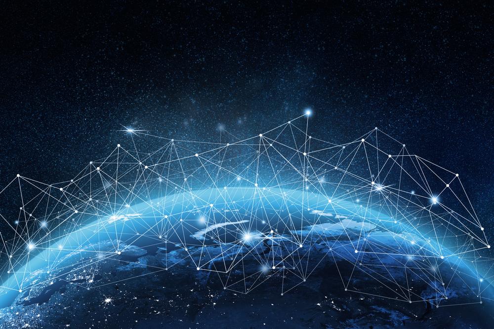 飛び交う情報ネットワークのイメージ図