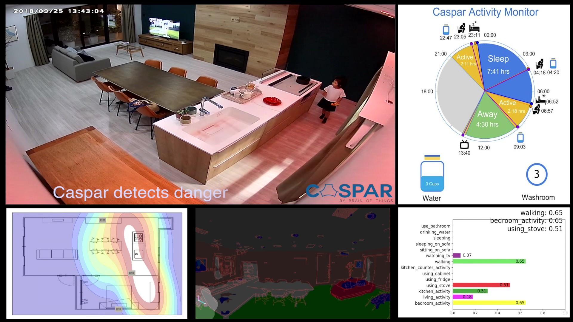 CASPARが見ている映像とAIによって分析された解析図