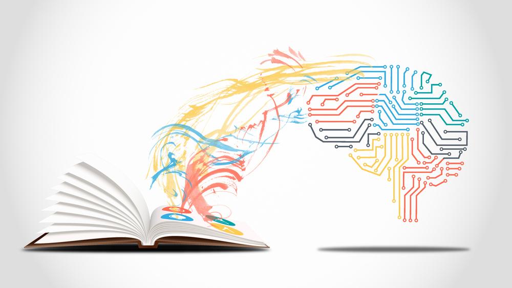 人工知能が本から情報を得る様子