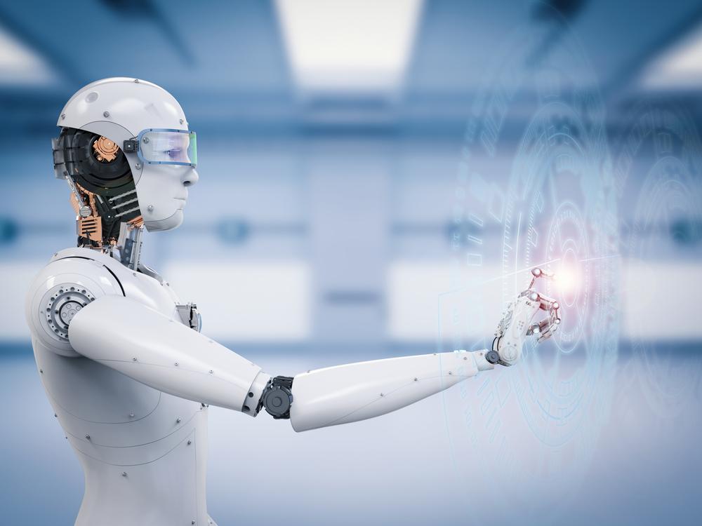 ディスプレイに触れるロボット