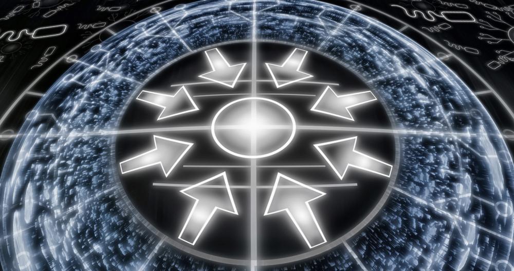 円の中心に向かって伸びる矢印